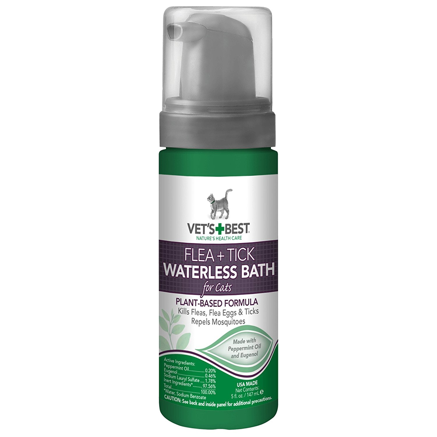 Vet's Best Natural Flea and Tick Waterless Bath Foam for Cats